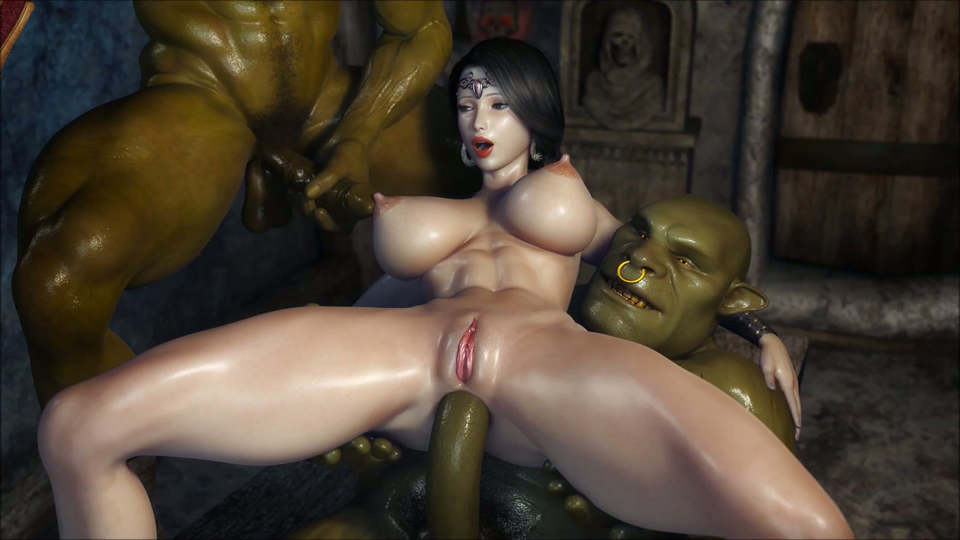 Naked girl and animated beast sex image