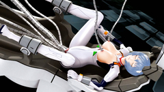 Blue haired hottie in sexy latex costume is fucking with kinky robo tentacles