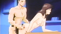 Black-haired naked babe bends over the table and gets fucked