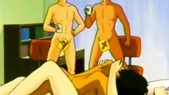 Old-fashioned gangbang porn cartoon in the bedroom