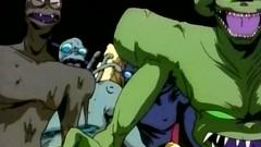 Monsters, vampires and sexy girls in hentai cartoon