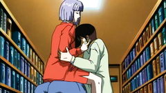 Passionate hentai fuck with busty girl in the library