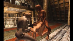 Hardcore threesome fuck in futanari 3d cartoon