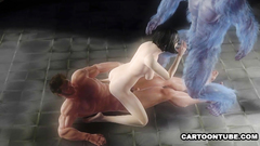 Muscular creatures 3some fuck naked 3d babe Pt.2
