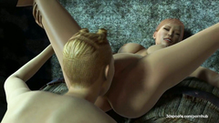 3D woman with strapon licking pussy cute girl and fucks her in doggie position
