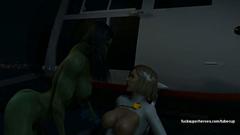 Hulk woman and her friend lesbian pussy rubbing