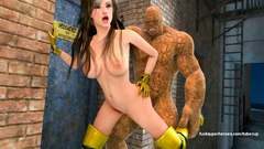 Thing from Fantastic 4 strongly fucks his big dick fragile girl