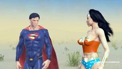 Superman fucks Wonder-woman her dirty mouth