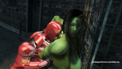 Ironman Tony Stark deeply fucks Hulk woman in her dirty mouth