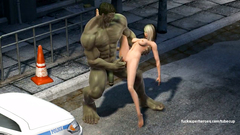 Blonde girl sucks huge cock of cartoon Hulk