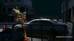 Hulk fucked charming blonde on a police car