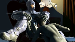 Batman makes Catwoman deep swallow his dick