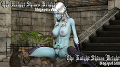 Slutty Elf babe in sexy stockings riding a dick of huge 3d werewolf