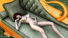 Horny redhead elf girl masturbates her sweet cunt
