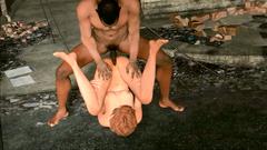 Skinny redhead girl ride a cock of black guy