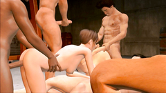 Boys gangbang fucks in anal hole and in mouth skinny brunette girl