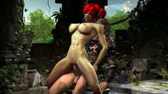 Big titted redhead Elf ride a huge dick