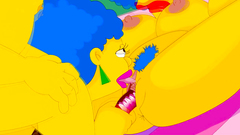 Selma and Patty Bouvier in threesome anal with Homer Simpson