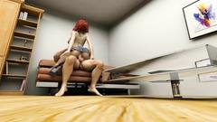 Skinny redhead teen in denim mini-skirt ride a cock