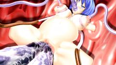 Huge dirty tentacles penetrates in sweet blonde pussy