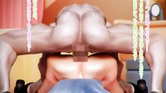 Pumped up guy fucks his horny 3D-hentai classmate