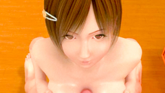 3D Perfect girl with sweet shaved twat blows a cock of her friend