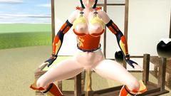 Girl-samurai masturbates her pussy with katana-sword