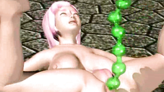 Many toys explore asshole and vagina of a slutty 3d chick