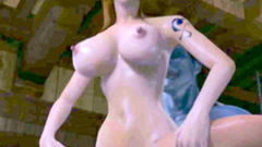 Fabulous hottie with big boobs is screwed by a blue creature
