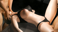 Double penetration of the holes of a fabulous and busty 3d beauty