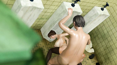 Violent vaginal creampie sex in a public toilet with an attractive woman in glasses