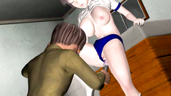 Busty school girl gets poked by a long stick into her holes in 3d porn with a kinky teacher