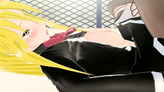 Blondy is crying because of pain in her tight young vagina in anime movie