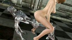 Kinky robot sticks it into the twat of a busty 3d babe