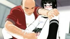 Hentai asian school girl spreads her legs an gets pupmed by a horny teacher