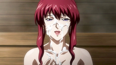 Redhead gal gets messy facial after a nice titjob