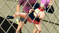 Hardcore banging with busty 3d slut near the fence