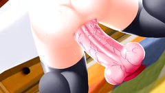Awesome solo girl rides huge cock sex toy