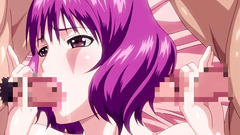 Sexy hentai chick with purple hair in gangbang