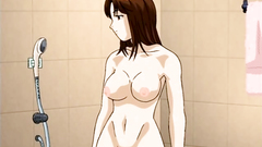 Naked anime babe with hot body takes shower totally naked