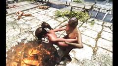 Big breasted futanari fuck in fantasy cartoon