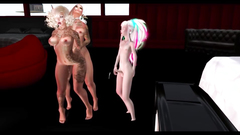 Busty shemales threesome fuck in 3d cartoon