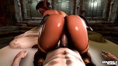 Seductive 3d  babe rides cock in POV cartoon