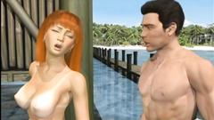 Blonde 3D animation self masturbation
