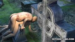 Cruel and horny zombie fucks beautiful naked babe on the cemetery