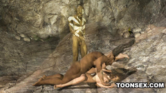 Ugly monsters abuse naked female chick in the cave