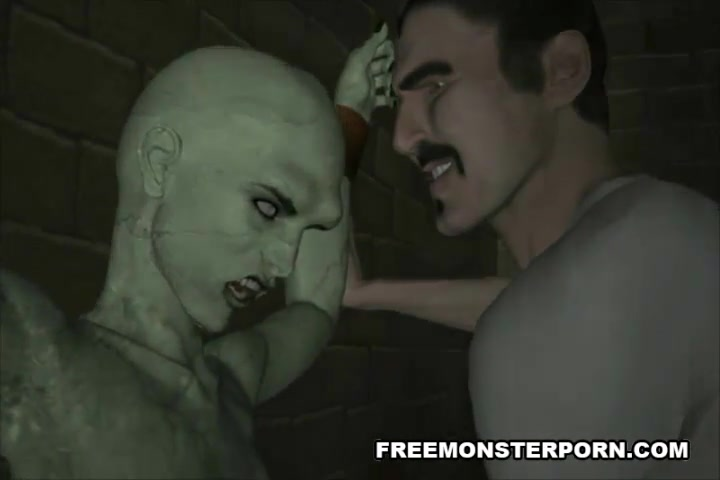 Naked 3d monster female tortured by horny dude