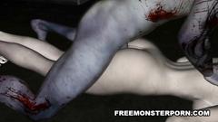 Bloody monster fucks naked 3d girl in porn cartoon