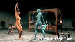 Busty babe dominated and fucked by evil creature