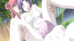 Busty anime threesome fucked in the outdoor